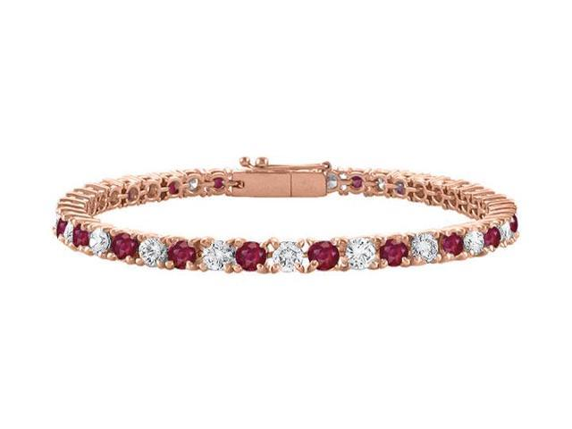 Created Ruby and Cubic Zirconia Tennis Bracelet in 14K Rose Gold Vermeil. 4 CT TGW. 7 Inch