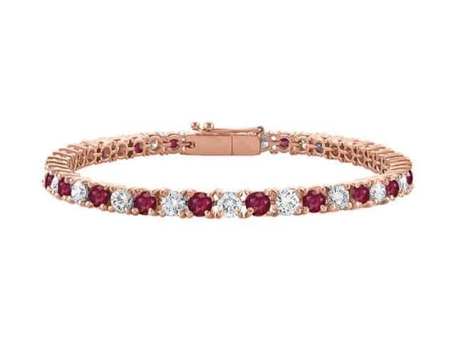 Cubic Zirconia and Created Ruby Tennis Bracelet in 14K Rose Gold Vermeil. 5CT TGW. 7 Inch