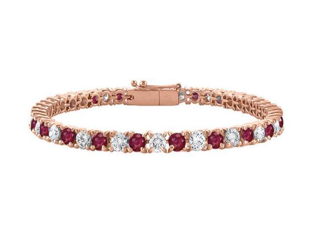 Cubic Zirconia and Created Ruby Tennis Bracelet with 7CT TGW on 14K Rose Gold Vermeil. 7 Inch