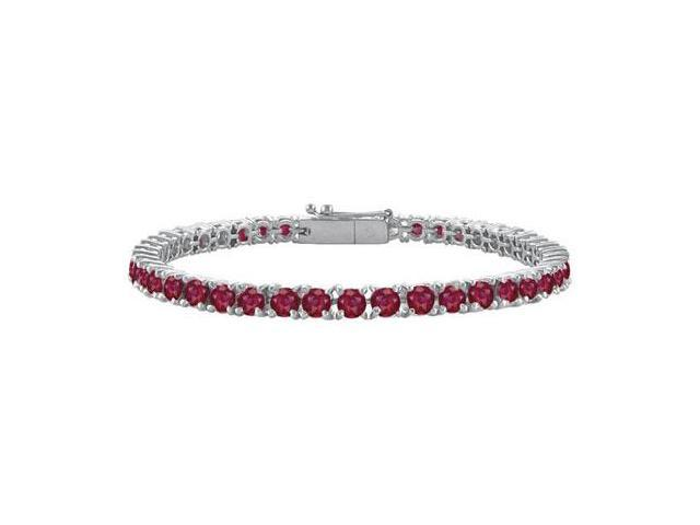 GF Bangkok Ruby Prong Set Sterling Silver Tennis Bracelet 7.00 CT TGW