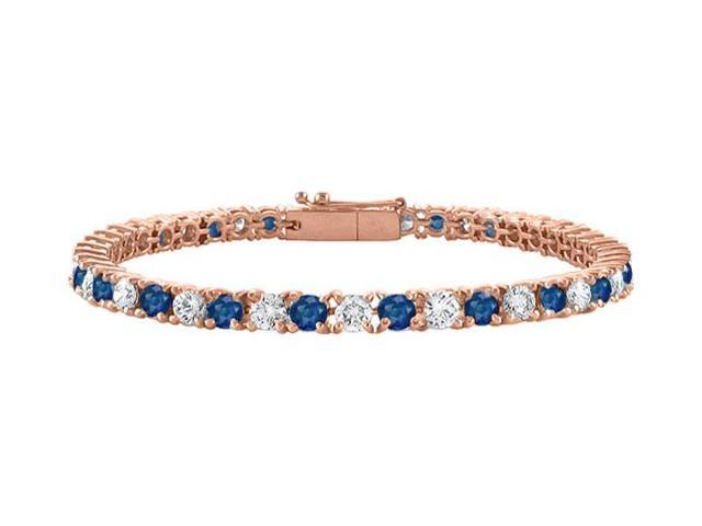 Created Sapphire and Cubic Zirconia Tennis Bracelet in 14K Rose Gold Vermeil. 4CT. TGW. 7 Inch