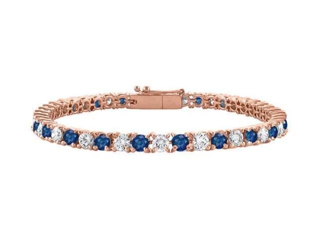 Tennis Bracelet Sapphire Created and Cubic Zirconia in 14K Rose Gold Vermeil. 5 CT. TGW. 7 Inch