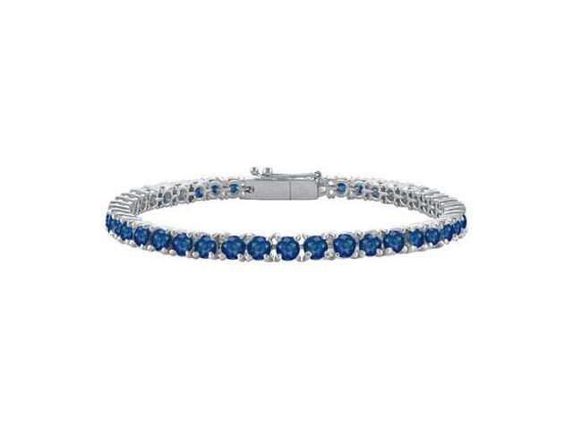 Diffuse Sapphire Prong Set Sterling Silver Tennis Bracelet 7.00 Carat Total Gem Weight