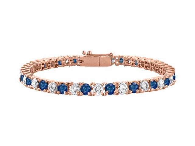 Tennis Bracelet Cubic Zirconia and Sapphire Created in 14K Rose Gold Vermeil. 7 CT. TGW. 7 Inc