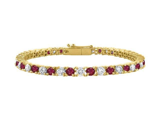 Created Ruby and Cubic Zirconia Tennis Bracelet in 18K Yellow Gold Vermeil. 4CT TGW. 7 Inch