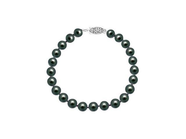 Cultured Black Akoya Pearl Bracelet  14K White Gold - 7 MM