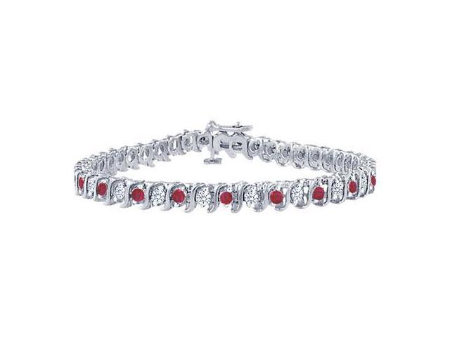 Ruby and Diamond Tennis Bracelet with 2.00 CT TGW on Platinum