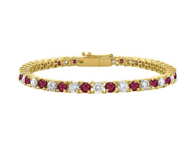 Cubic Zirconia and Created Ruby Tennis Bracelet in 18K Yellow Gold Vermeil. 5 CT TGW. 7 Inch
