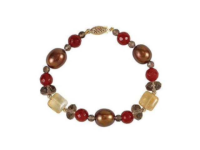 14K Yellow Gold Freshwater Dyed Chocolate Cultured Pearl and Multi Gemstone Bracelet