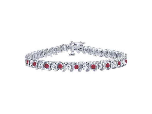 Ruby and Diamond Tennis Bracelet with 4.00 CT TGW on Platinum