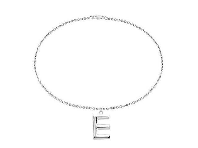 Sterling Silver Initial E Charm Bracelet