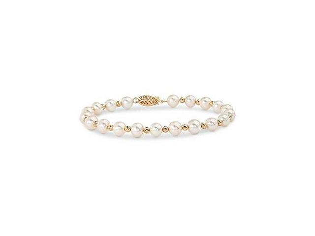 Freshwater Cultured White Pearl and Yellow Beads Bracelet with 14K Yellow Gold Filigree Clasp