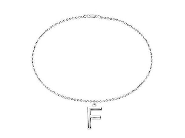 Sterling Silver Initial F Charm Bracelet