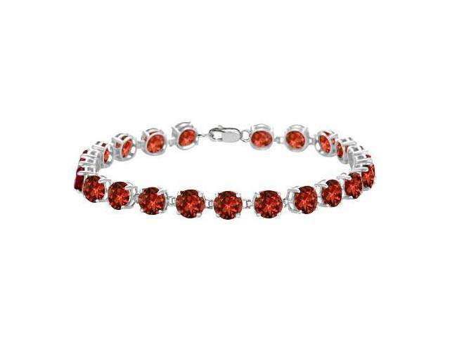Sterling Silver Prong Set Round Garnet Bracelet with 12.00 CT TGW