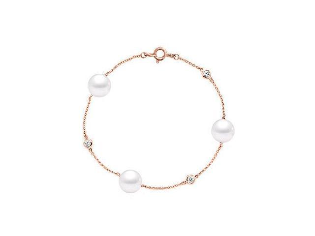 14K Rose Gold with Diamond and Cultured South Sea Pearl Bracelet of 0.15 CT Diamonds