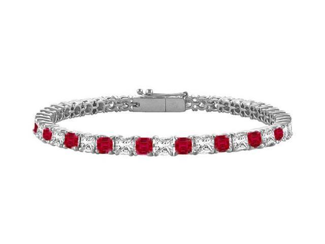 Ruby and Diamond Tennis Bracelet with 4.00 CT TGW on 14K White Gold