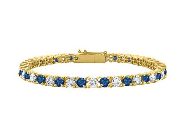 Tennis Bracelet Sapphire Created and Cubic Zirconia in 18K Yellow Gold Vermeil. 5 CT TGW. 7 Inch