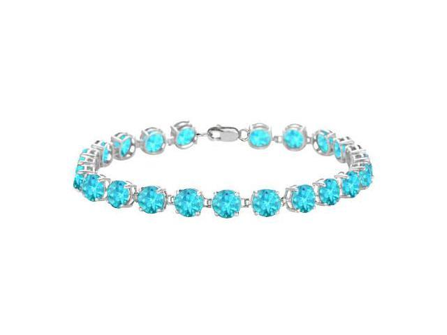 Sterling Silver Prong Set Round Blue Topaz Bracelet with 12.00 CT TGW