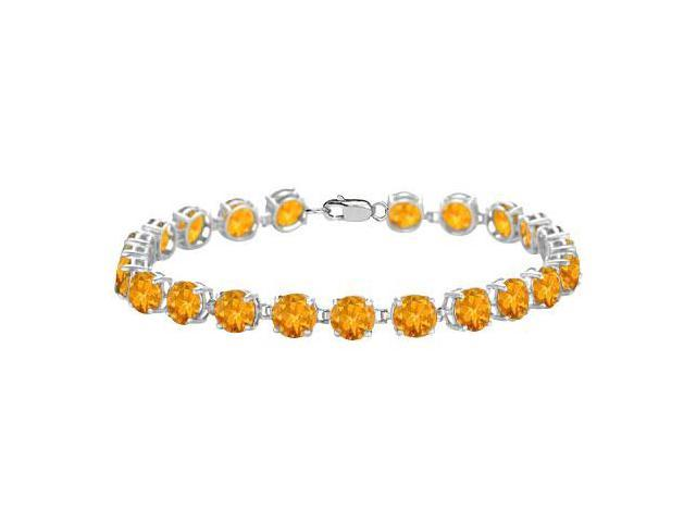 Sterling Silver Prong Set Round Citrine Bracelet with 12.00 CT TGW