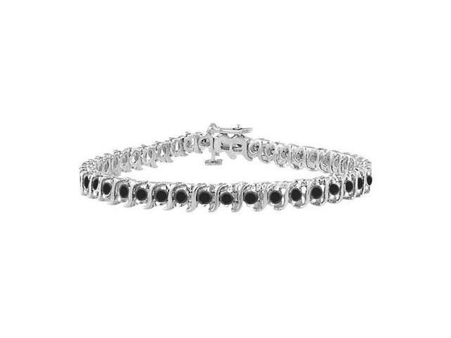 Black Diamond S Tennis Bracelet  925 Sterling Silver - 1.00 CT Diamonds