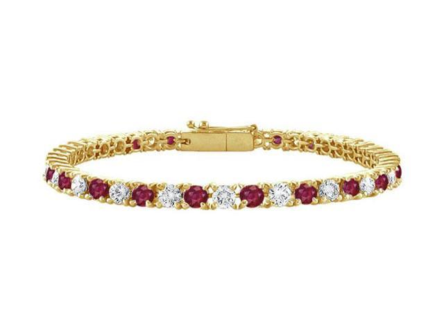 Ruby and Diamond Tennis Bracelet with 1.50 CT TGW on 18K Yellow Gold