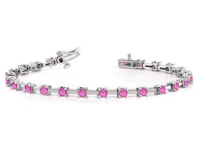 Classic Solid Rectangle Link Created Pink Sapphire Bracelet.10.ct.tw