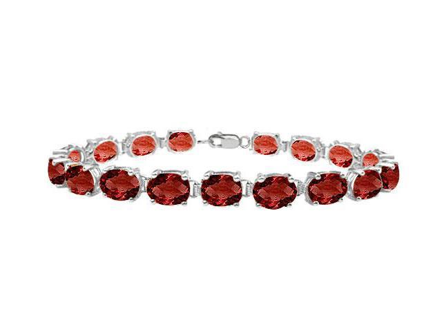 Sterling Silver Prong Set Oval Garnet Bracelet with 15.00 CT TGW