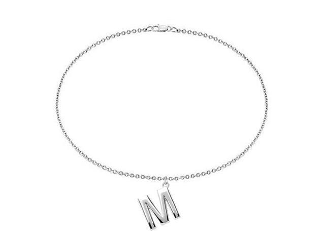 Sterling Silver Initial M Charm Bracelet