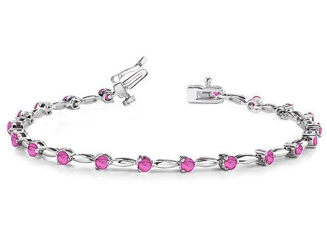 Alternating Created Pink Sapphire Drop Bracelet in 14K white gold. 8.ct.tw