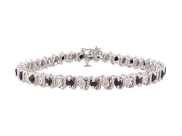 Blue Sapphire and Diamond Bracelet  10K White Gold - 3.00 CT TGW