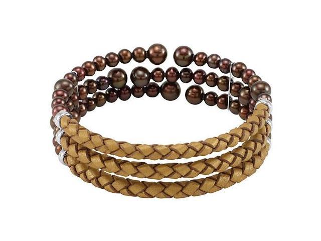 Freshwater Cultured Copper Color Pearl and Leather Cuff Bracelet in .925 Sterling Silver 8 Inch