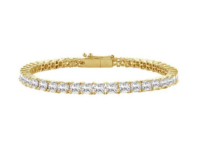 Tennis Bracelet 4 Carat Princess Cut Complete AAACZ Tennis Bracelet on 18K Yellow Gold Vermeil