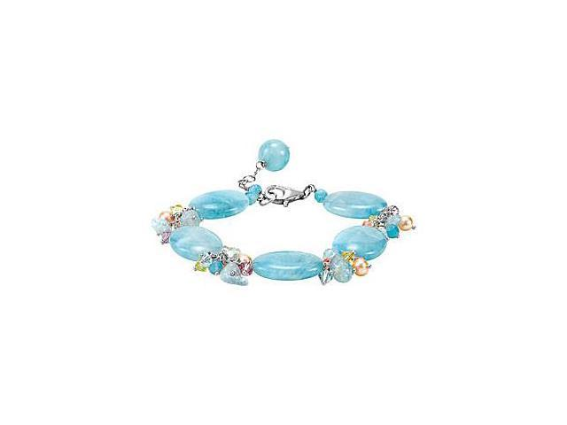 Genuine Dyed Blue Quartz with Swarovski Crystal and Pearl Bracelet in Sterling Silver 7.5 Inch
