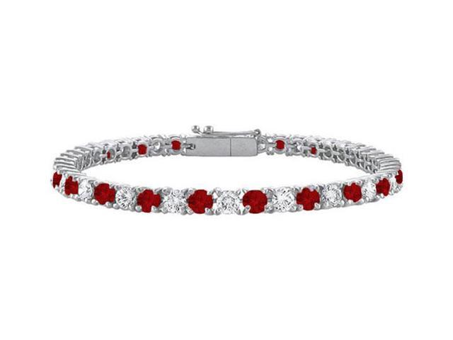 Garnet and Cubic Zirconia Prong Set 10K White Gold Tennis Bracelet 2.00 CT TGW