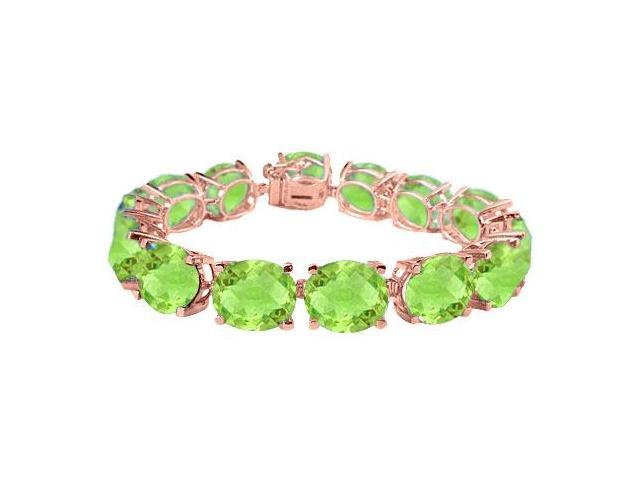 Tennis Peridot Bracelets Oval Cut in 14K Rose Gold Vermeil. 50CT. TGW. 7 Inch