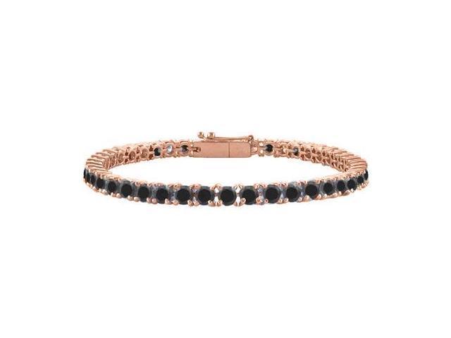 Black Diamond Tennis Bracelet in 14K Rose Gold Vermeil. 3CT. TGW. 7 Inch