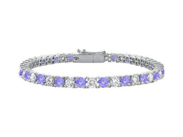 Created Tanzanite and Cubic Zirconia Prong Set 10K White Gold Tennis Bracelet 4.00 CT TGW