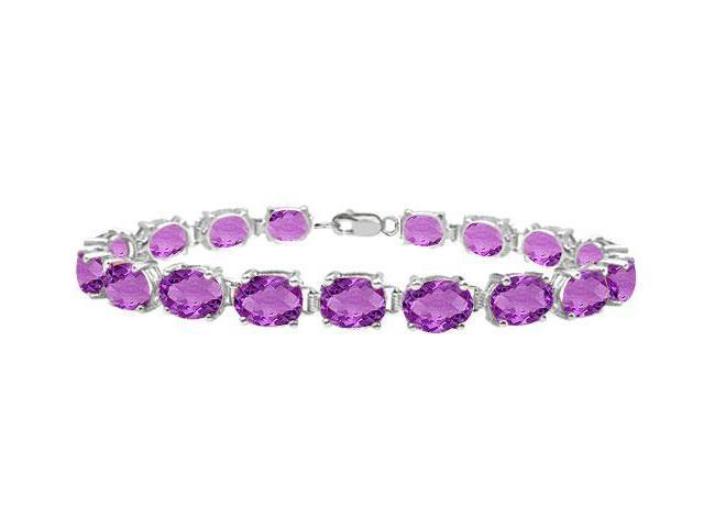 Sterling Silver Prong Set Oval Amethyst Bracelet with 15.00 CT TGW