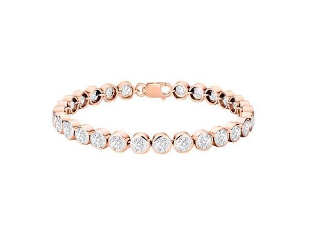 25 Carat Bezel Triple AAA Quality CZ Tennis Bracelet in 14K Rose Gold Vermeil Sterling Silver