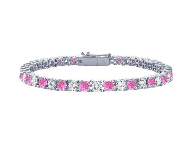 Pink Sapphires and Diamond Tennis Bracelet  Platinum 1.50 CT TGW