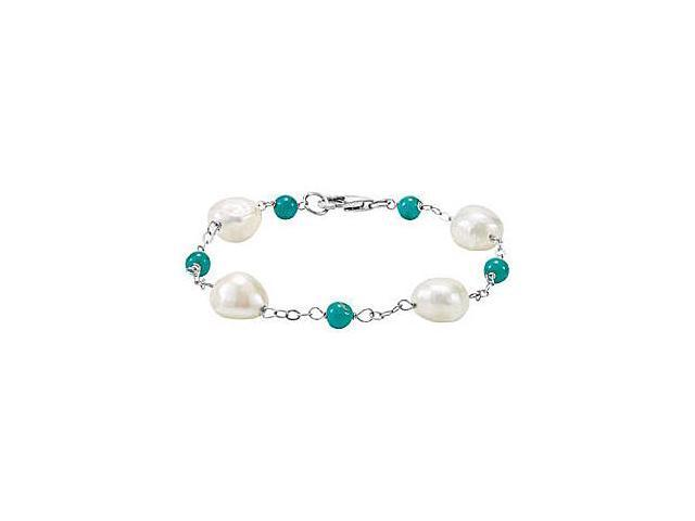 .925 Sterling Silver Freshwater Cultured Pearl and Genuine Turquoise Bracelet 7.50 Inch