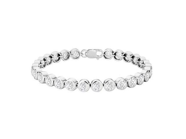 Cubic Zirconia Bezel-Set Tennis Bracelet  .925 Sterling Silver  25.00 CT TGW