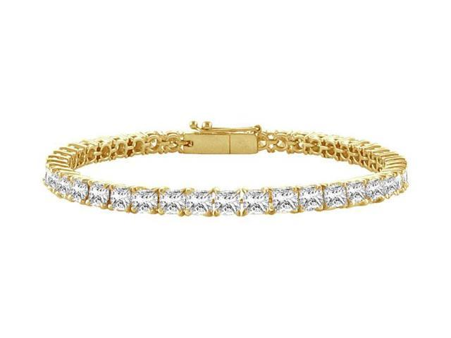 Tennis Bracelet Six Carat Princess Cut Complete AAACZ Tennis Bracelet 18K Yellow Gold Vermeil