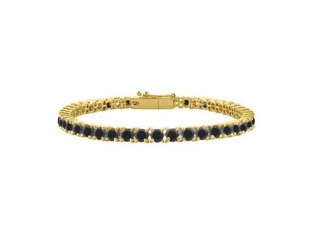 Black Diamond Tennis Bracelet in 18K Yellow Gold Vermeil. 3 CT. TGW. 7 Inch