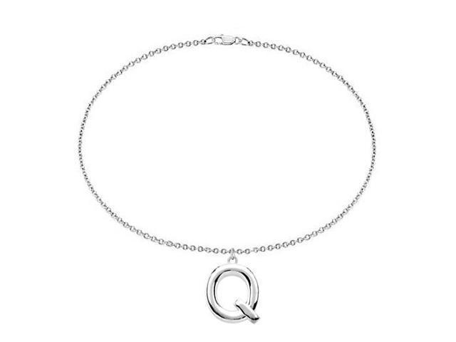 Sterling Silver Initial Q Charm Bracelet
