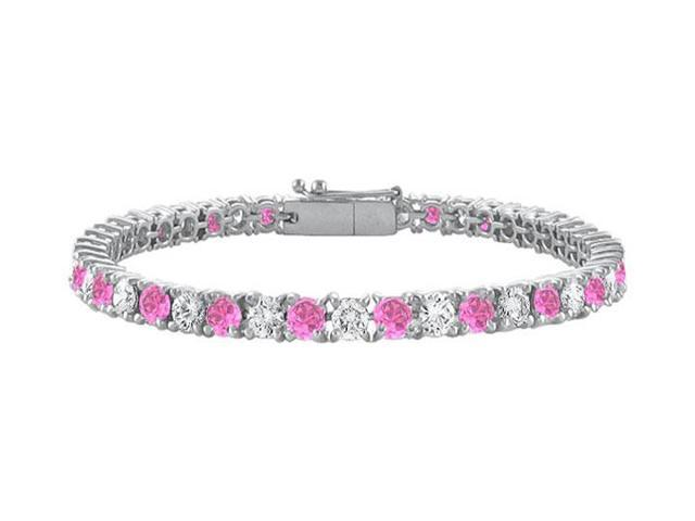 Sterling Silver Round Created Pink Sapphire and Cubic Zirconia Tennis Bracelet 7.00 CT TGW