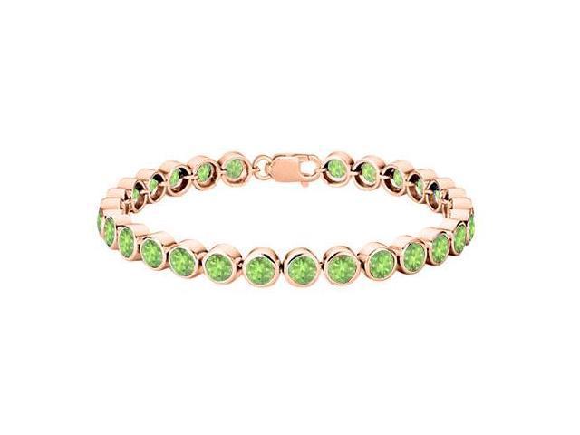 Peridot Tennis Bracelet 25 Carat Totaling in 14K Rose Gold Vermeil Sterling Silver Bezel Setting