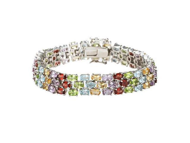 Sterling Silver Prong Set Three Rows Oval Multi Color Gemstone Bracelet with 19.00 CT TGW