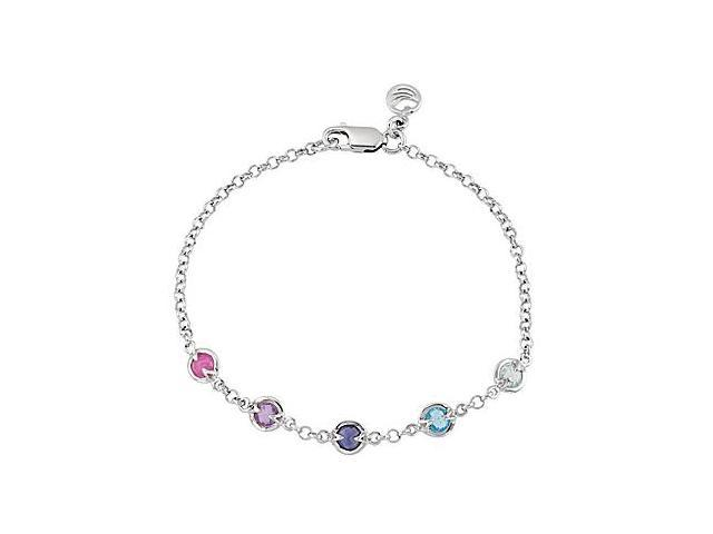 Multi Color Bracelet in Rhodium Plating .925 Sterling Silver 7 Inch