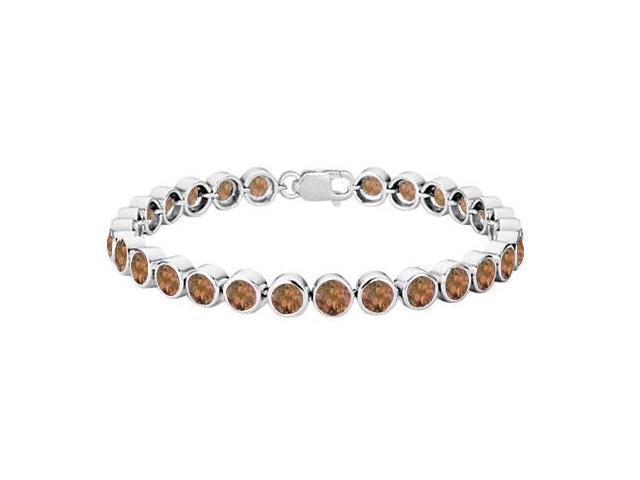 Smoky Topaz Bezel-Set Tennis Bracelet  .925 Sterling Silver  25.00 CT TGW